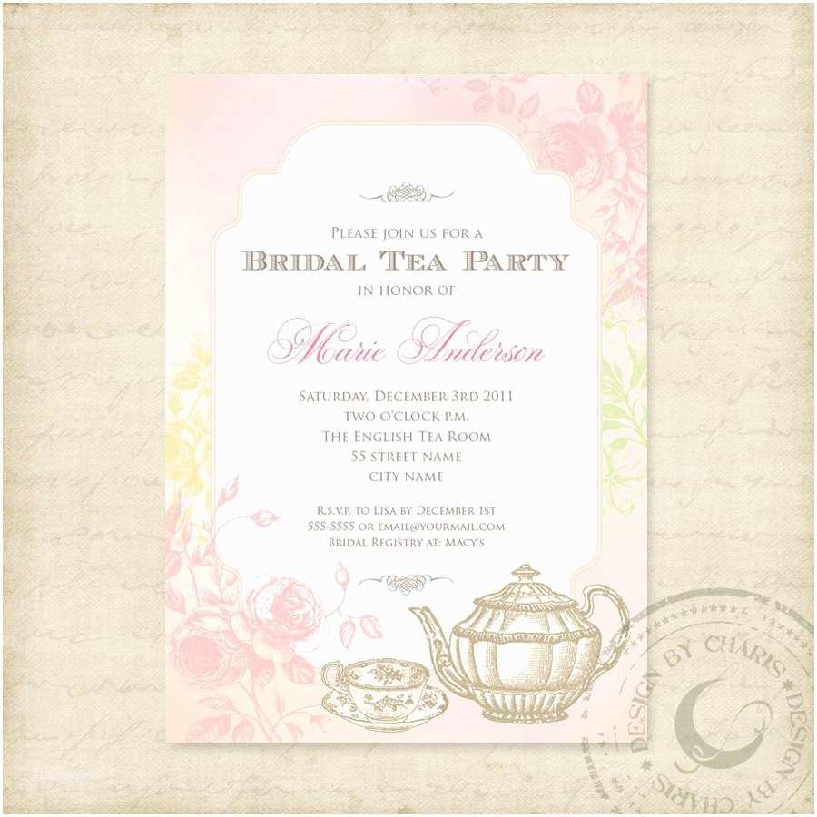Tea Party Wedding Invitations Shabby Chic Bridal Tea Party Printable Invitation