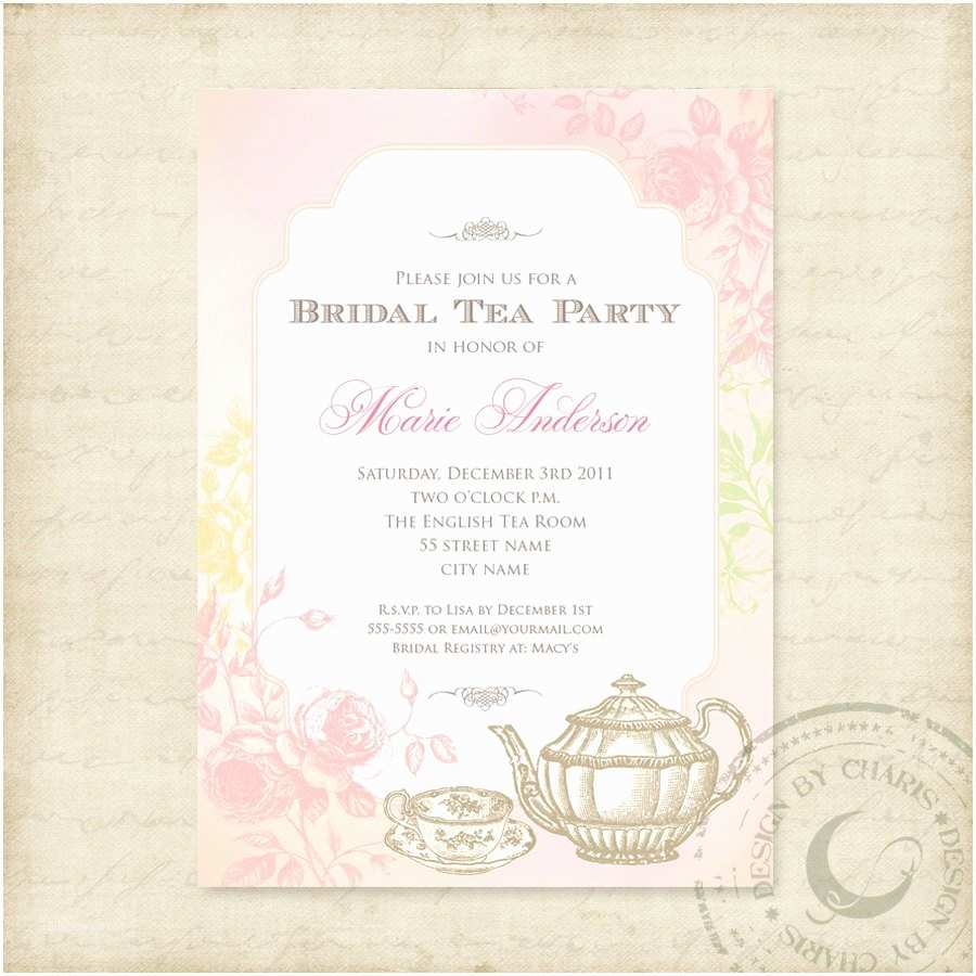 Tea Party Wedding Invitations Shabby Chic Bridal Tea Party Printable Invitation