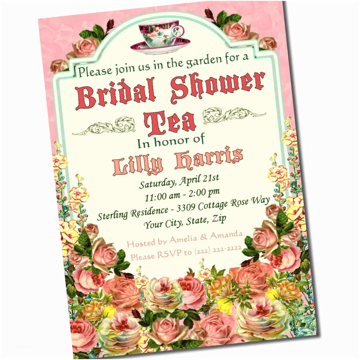 Tea Party Wedding Invitations Tea Party Bridal Shower Invitation Custom 5 X 7 by