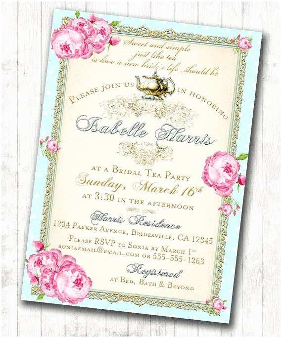 Tea Party Wedding Invitations Tea Party Bridal Shower Tea Party Invitation Floral