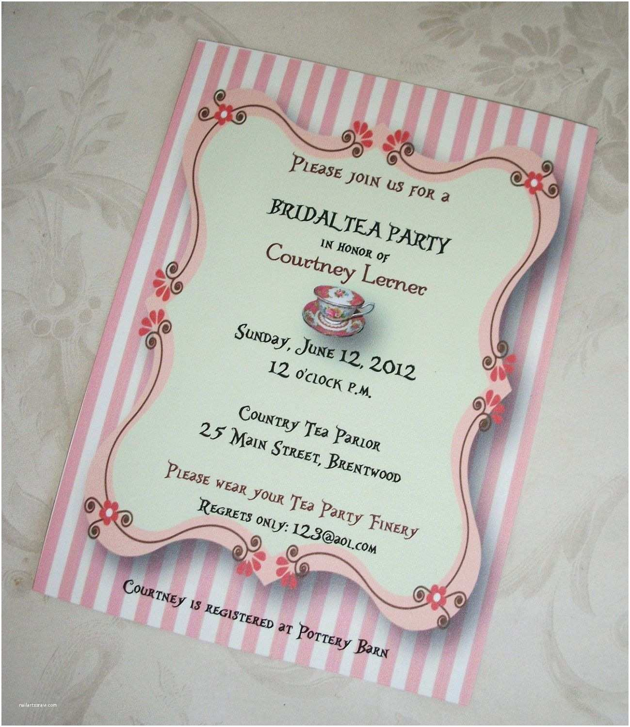 Tea Party Wedding Invitations Tea Party Bridal Shower Wedding Shower Custom