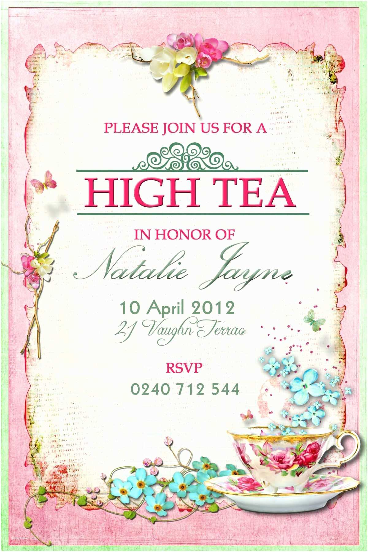 Tea Party Wedding Invitations Victorian High Tea Party Invitations Surprise Party