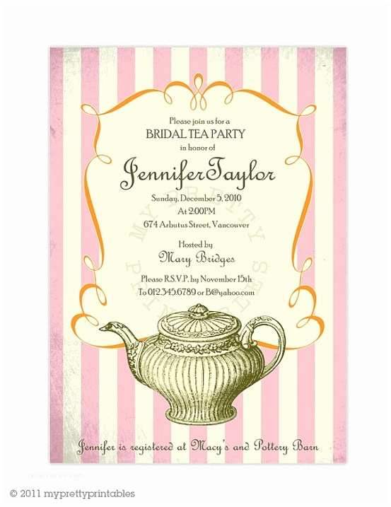 Tea Party Wedding Invitations Vintage Bridal Tea Party Invitation by Myprettyprintables