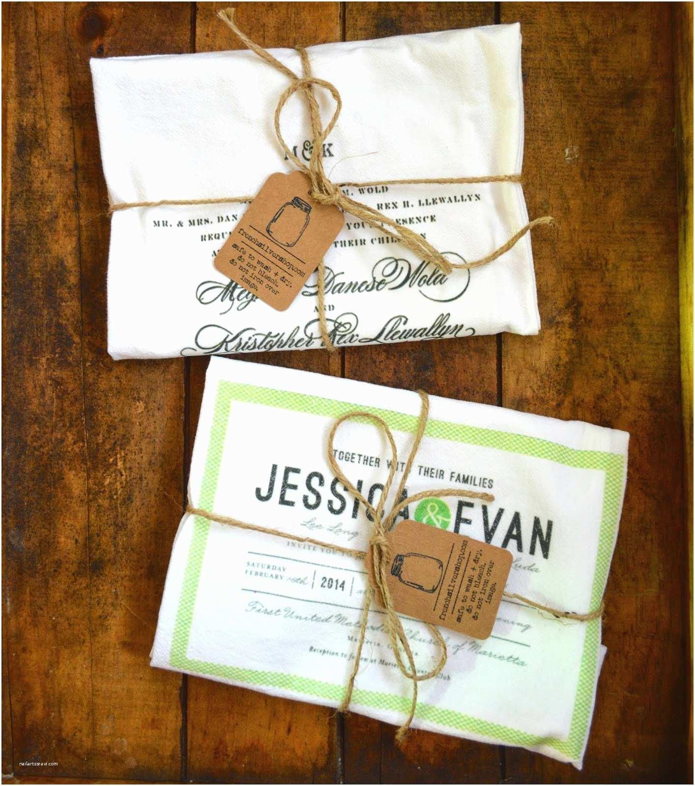 Tea Towel Wedding Invitations French Silver Wedding Invitation