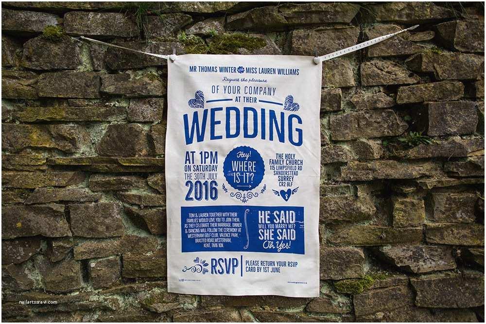 Tea towel Wedding Invitations original Wedding Tea towels Rock My Wedding