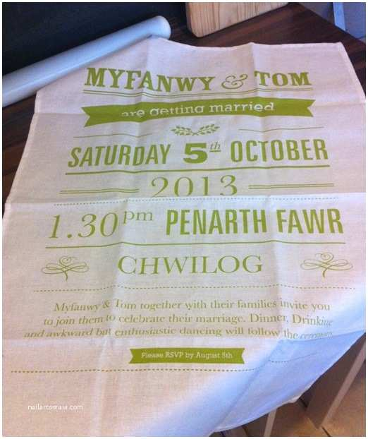 Tea Towel Wedding Invitations Tnwc Real Brides Myfawny Has Been Busy Designing