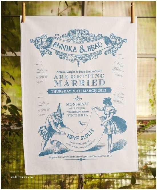 Tea Towel Wedding Invitations Wedding Invitation Tea Towels Printed In