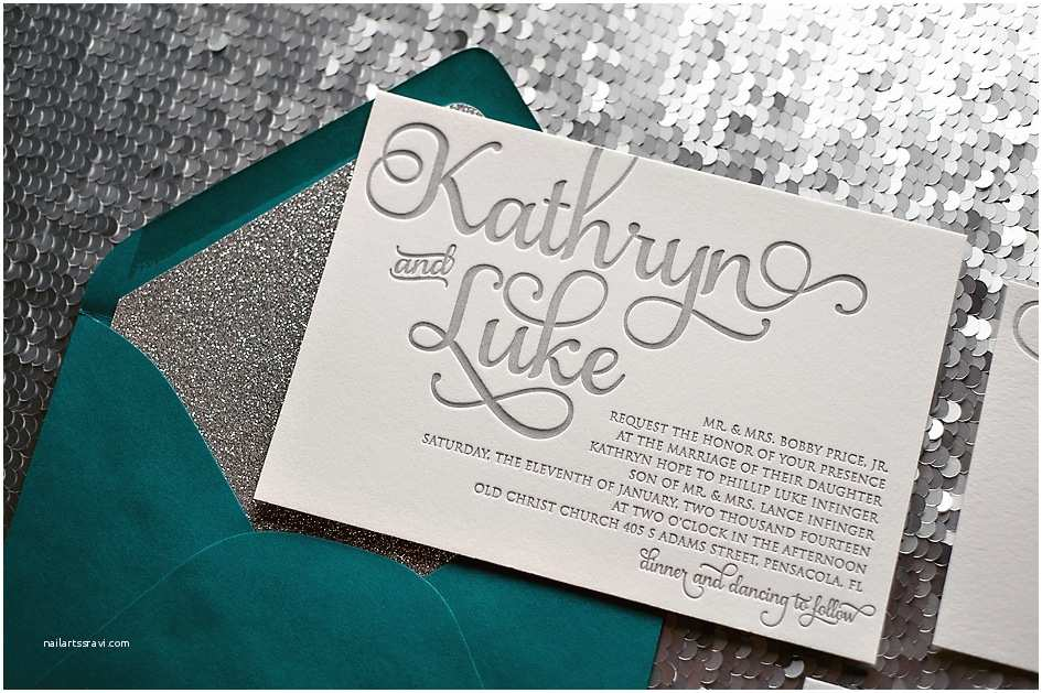 Teal Wedding Invitations Blue
