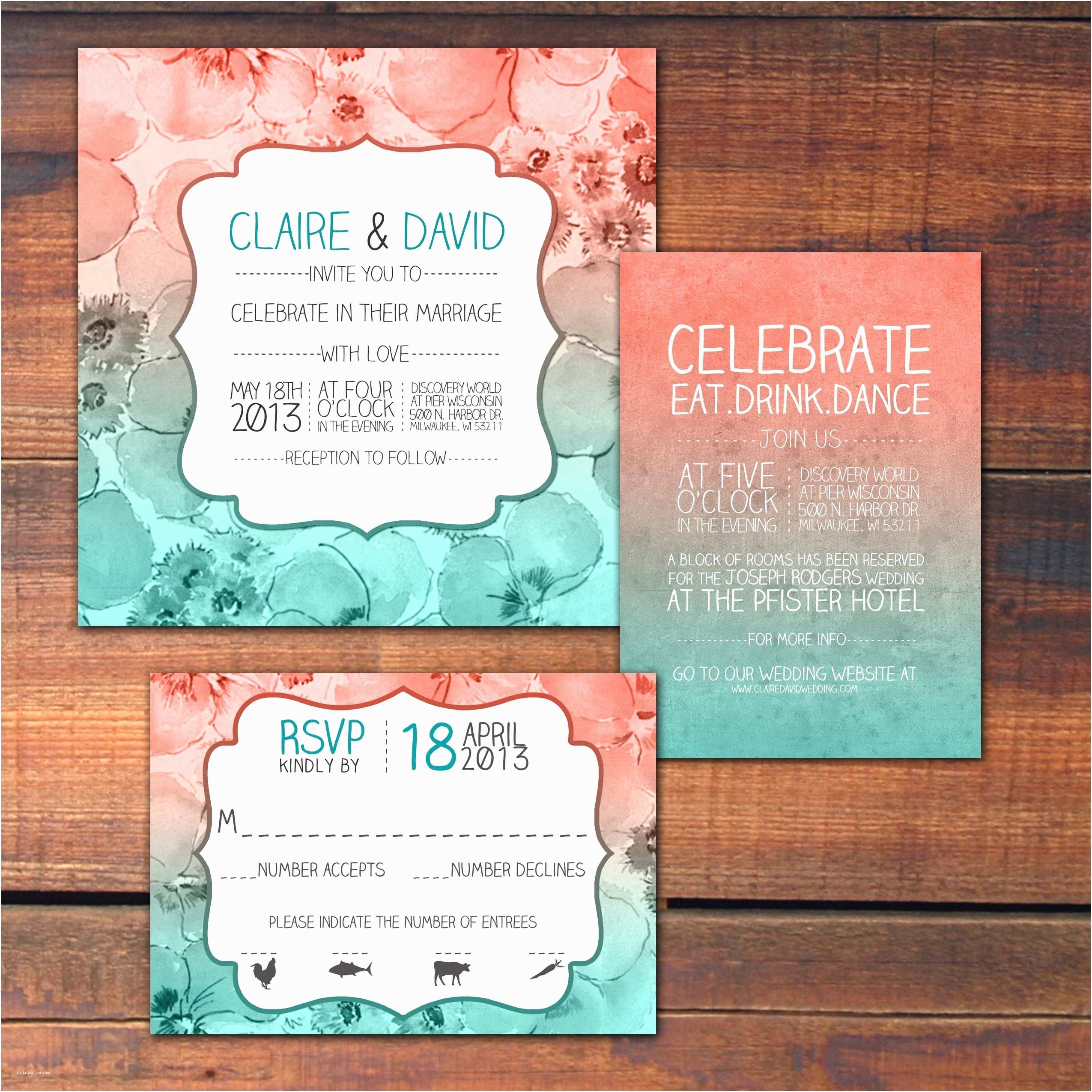 Teal Wedding Invitations Coral and Teal Inspired Wedding Invitations by Dco