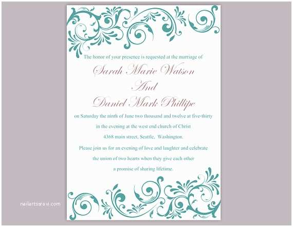 Teal Wedding Invitations Diy Wedding Invitation Template Editable Word File Instant