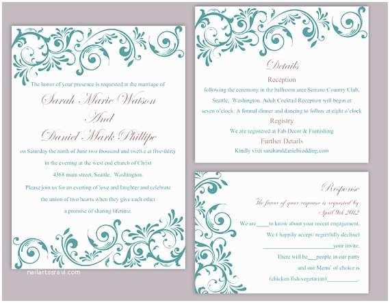 Teal Wedding Invitations Diy Wedding Invitation Template Set Editable Word File