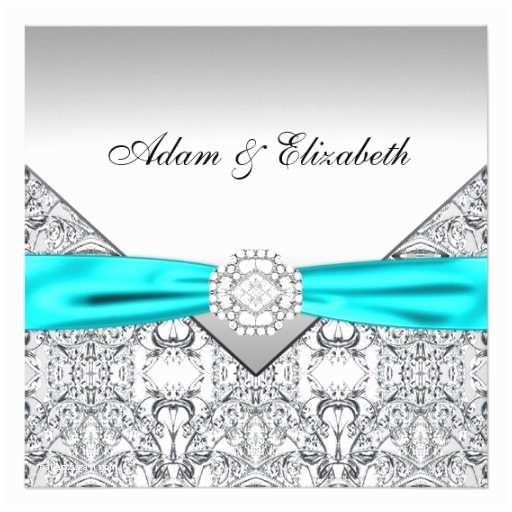 "Teal Wedding Invitations Elegant Silver Teal Blue Wedding Invitations 5 25"" Square"