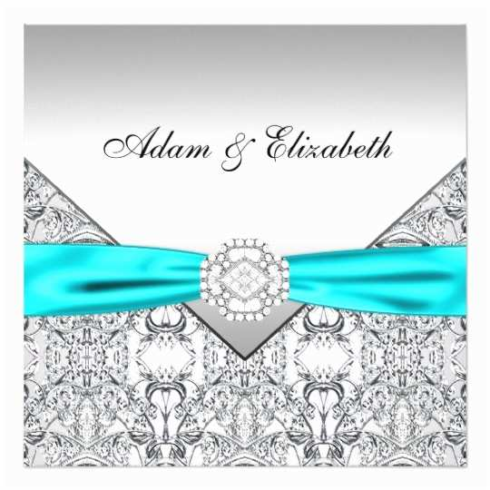 Teal Wedding Invitations Elegant Silver Teal Blue Wedding Invitations