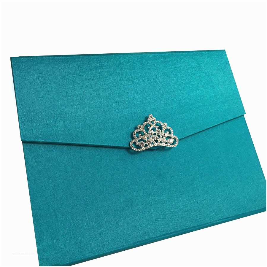 Teal Wedding Invitations Light Teal Color Luxury Silk Pocket Fold Design for