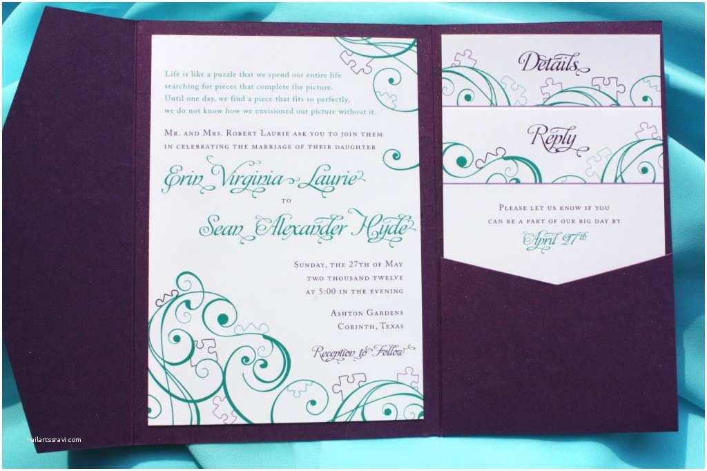 Teal Wedding Invitations Purple Teal & Turquoise Puzzle Piece & Swirl Pocketfold