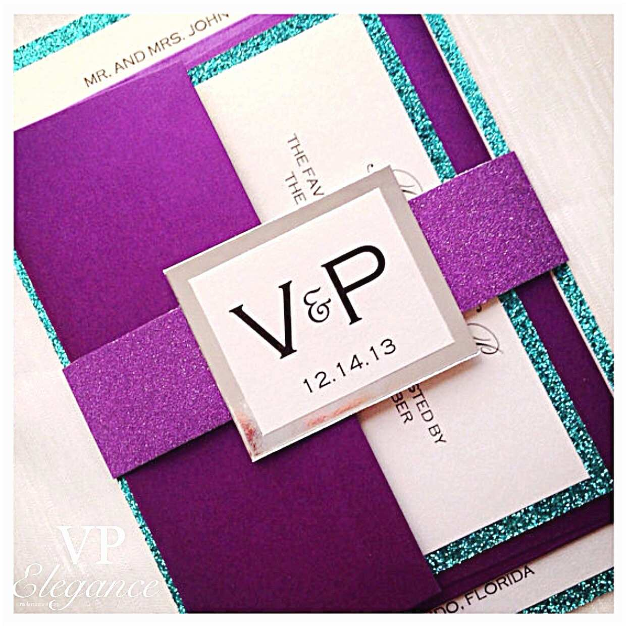 Teal Wedding Invitations Purple Wedding Invitations Purple and Teal Wedding