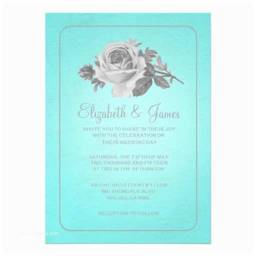 Teal Wedding Invitations Teal & Silver Rustic Floral Wedding Invitations