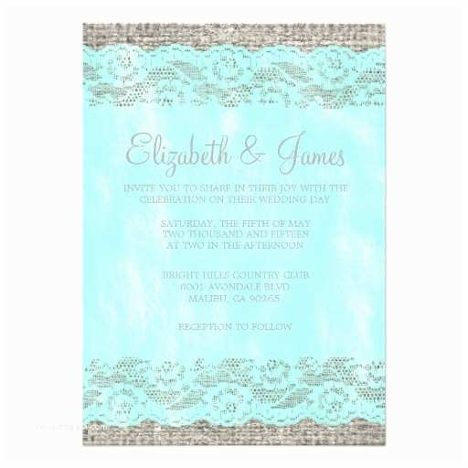 Teal Wedding Invitations Teal & Silver Rustic Lace Wedding Invitations Card