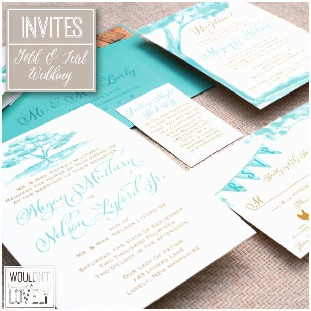 Teal Wedding Invitations Teal and Gold Wedding Invitations — Wouldn T It Be Lovely