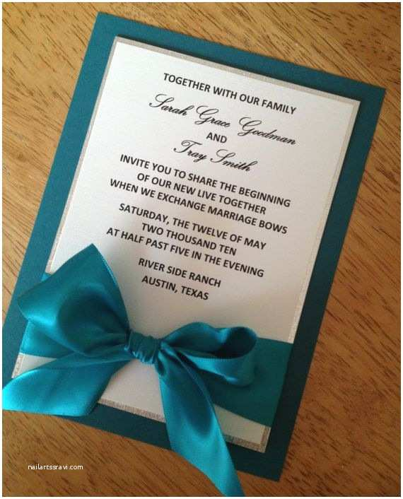 Teal Wedding Invitations Teal Ivory and Silver Wedding Invitation by Urinvitedus On
