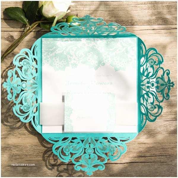 Teal Wedding Invitations Teal Lace Design Laser Cut Wedding Invitations Ewws112 as