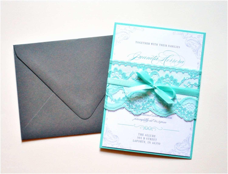 Teal Wedding Invitations Teal Lace Wedding Invitations Custom Lace Wedding Invitation