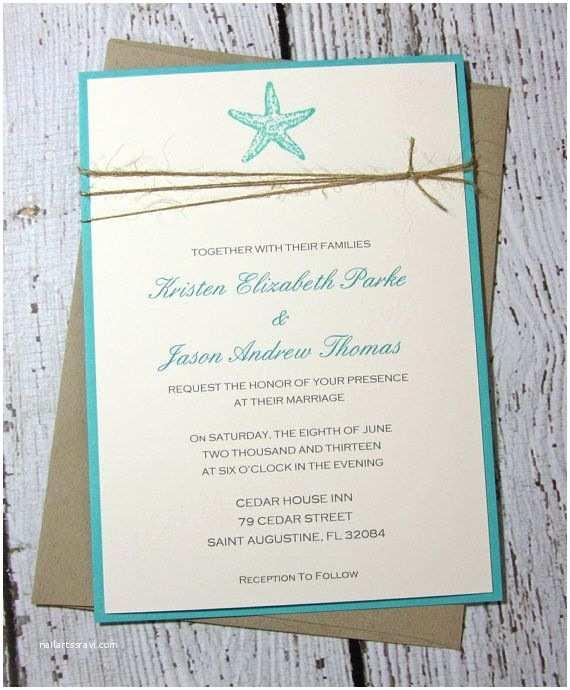 Teal Wedding Invitations Teal Starfish Wedding Invitations Beach Wedding Invitation