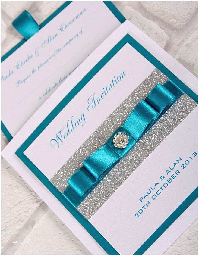Teal Wedding Invitations Teal Wedding Invitations with Bling