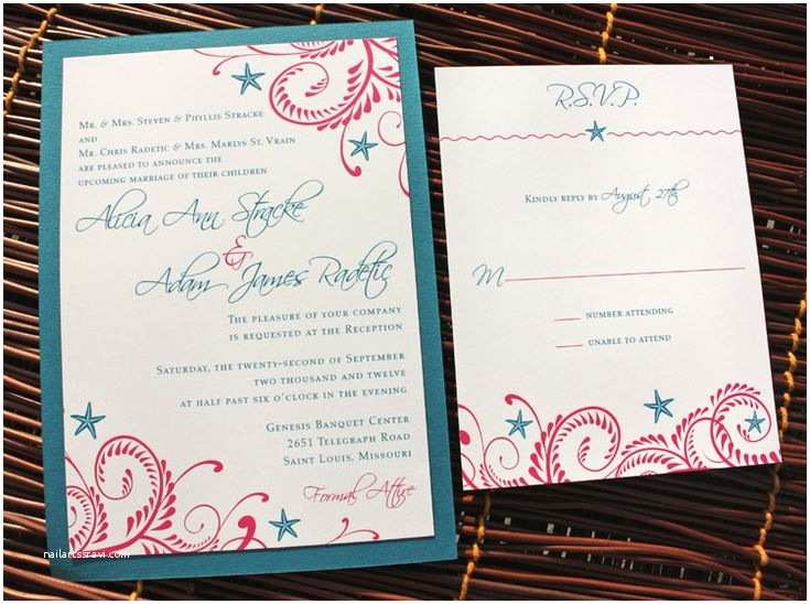 Teal Wedding Invitations Wedding Invitation In Teal and Fuschia