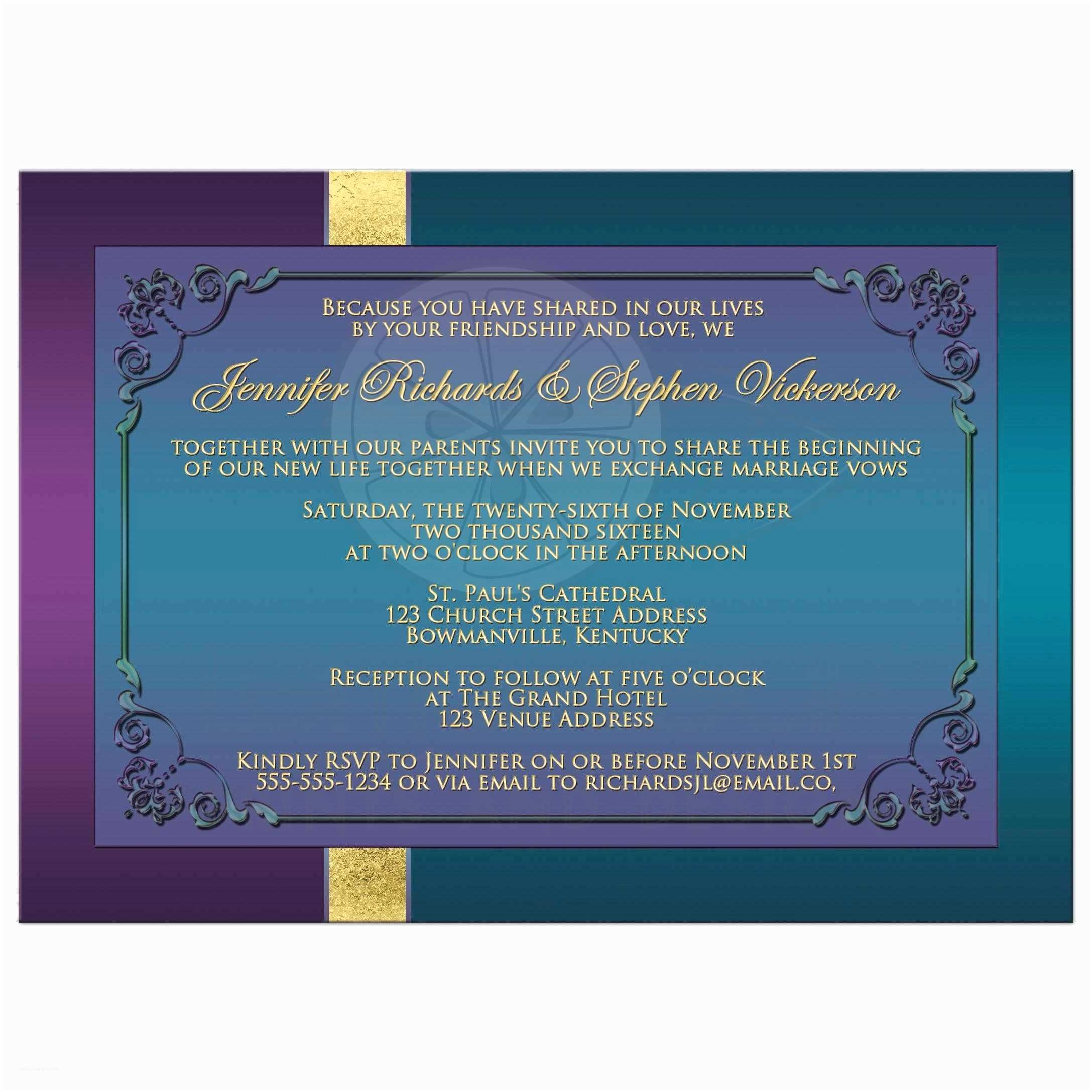 Teal Wedding Invitations Wedding Invitation