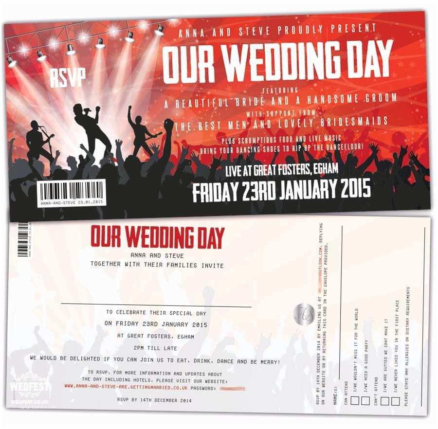 Tear Off Rsvp Wedding Invitations Concert themed Wedding Invitations with Tear Off Stubs for