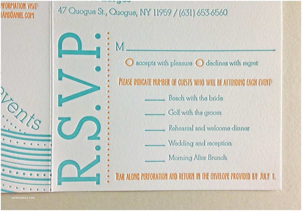 Tear Off Rsvp Wedding Invitations Hampton Bays Dolce Press