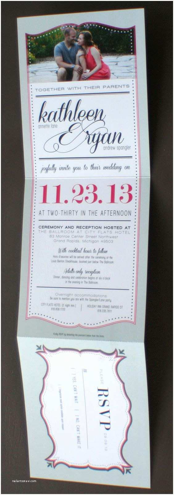 Tear Off Rsvp Wedding Invitations Long Wedding Invitation with Tear Off Rsvp Postcard