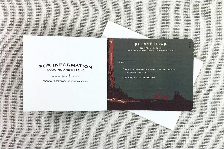 Tear Off Rsvp Wedding Invitations Sequoia forest National Park 3pg Livret Booklet Wedding