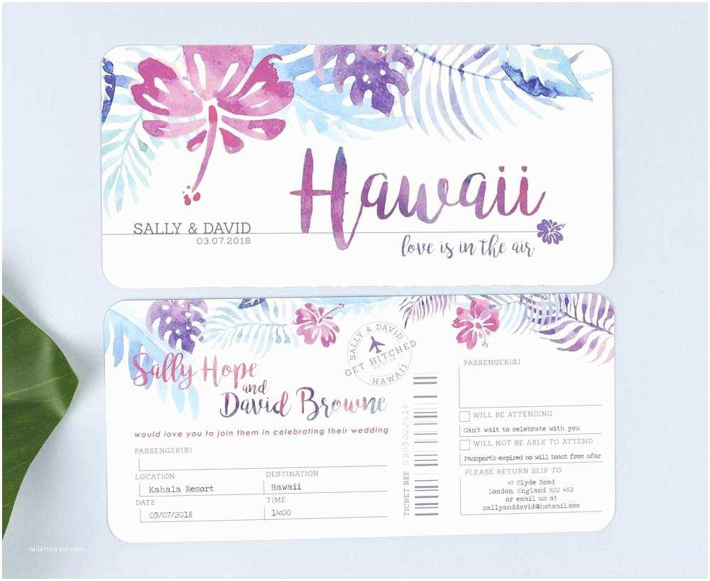 Tear Off Rsvp Wedding Invitations Tropical Airline Ticket Wedding Invitations with Tear Off