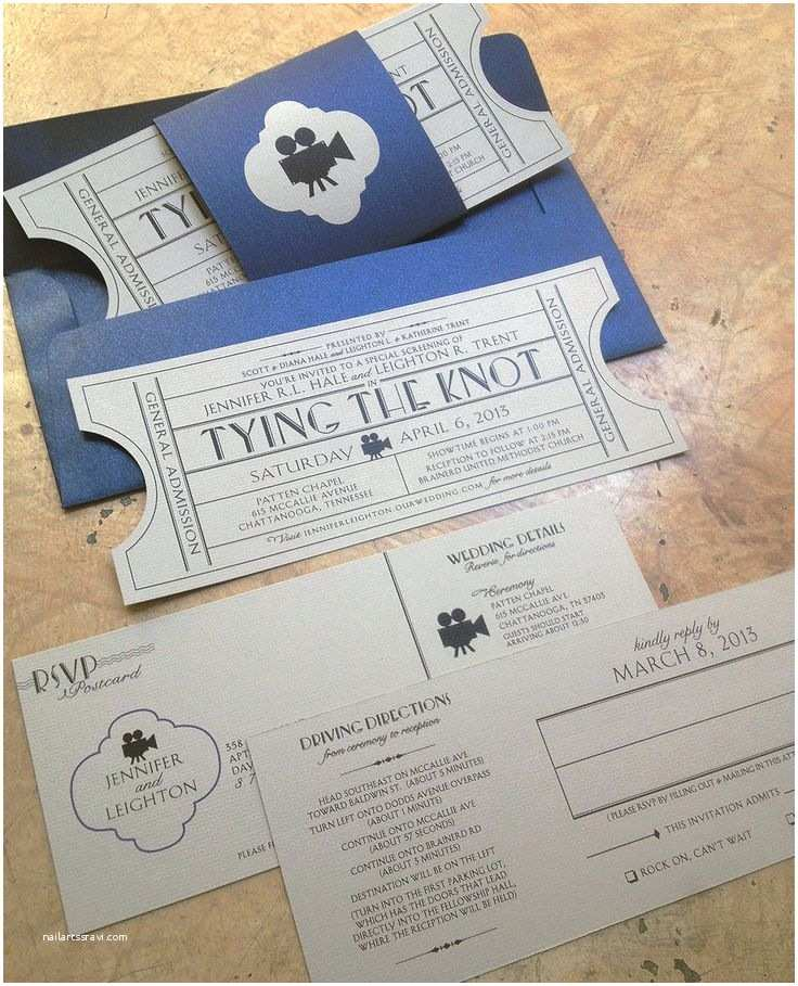 Tear Off Rsvp Wedding Invitations Vintage Cinema Wedding Invitation Ticket with Tear Off