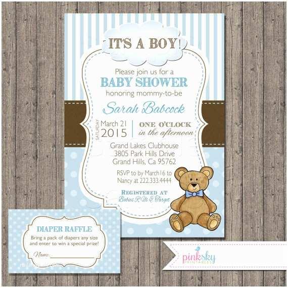 Teddy Bear Baby Shower Invitations Boy Teddy Bear Baby Shower Invitation with by