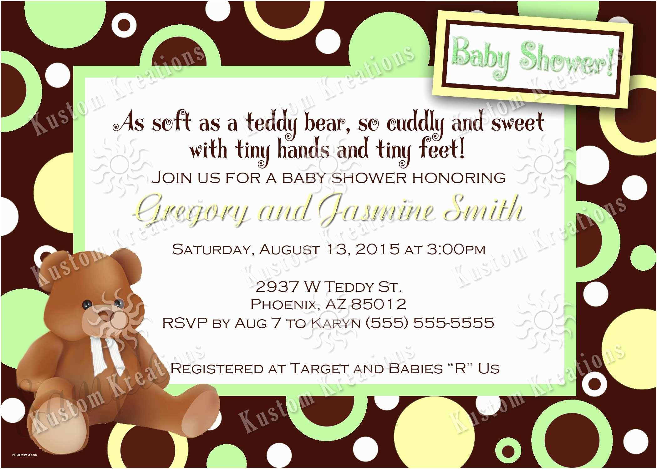 Teddy Bear Baby Shower Invitations Teddy Bear Baby Shower