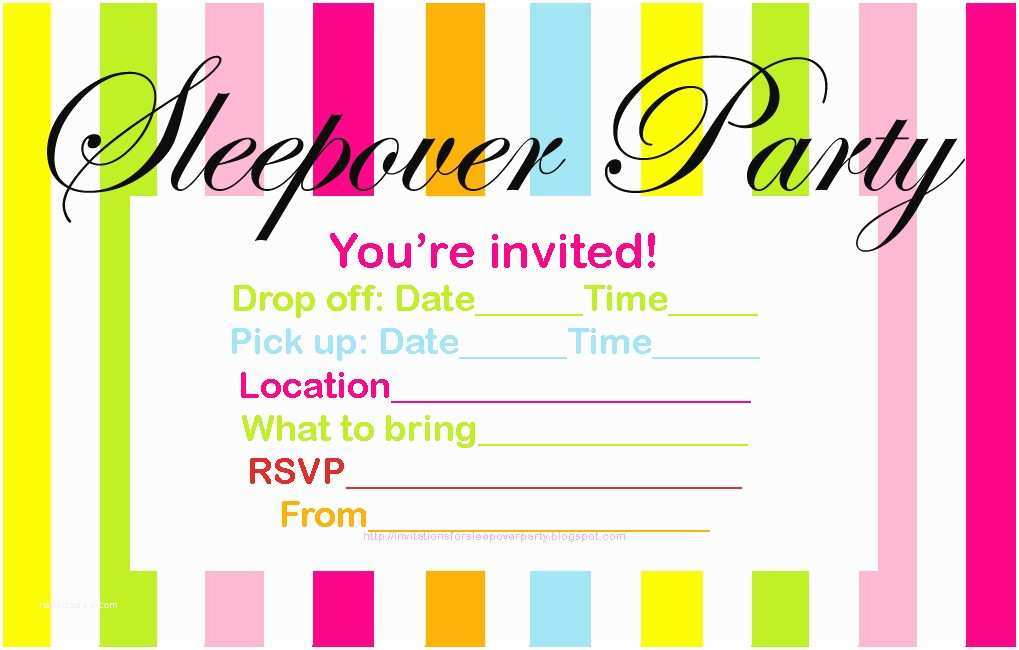 Teen Birthday Invitations Invitations for Sleepover Party