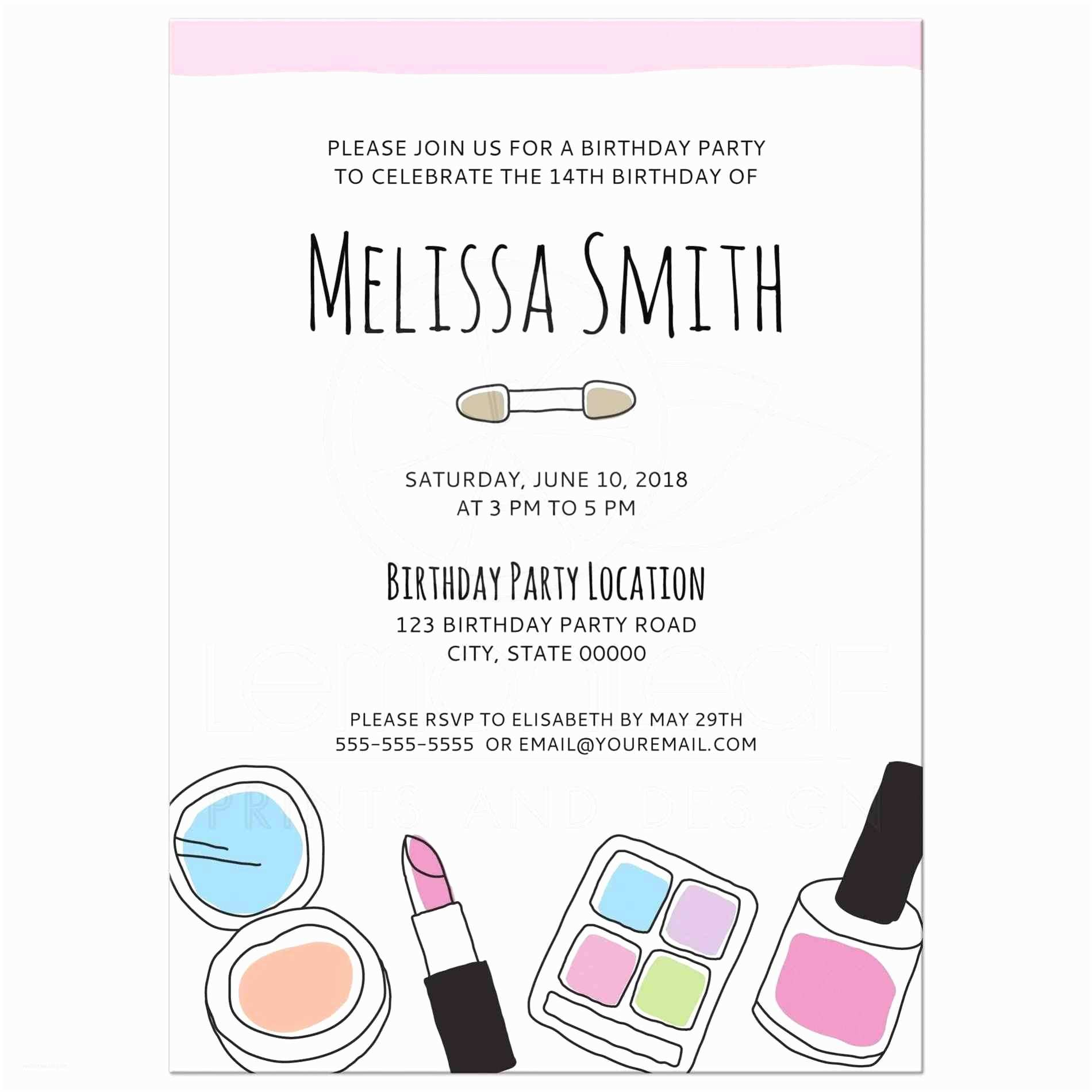 Teen Birthday Invitations Makeup Birthday Party Invitations for Teenage Girls Doodle