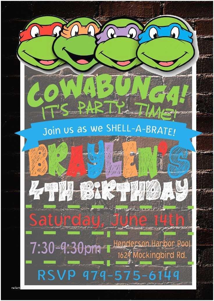Teenage Mutant Ninja Turtles Birthday Invitations Best 25