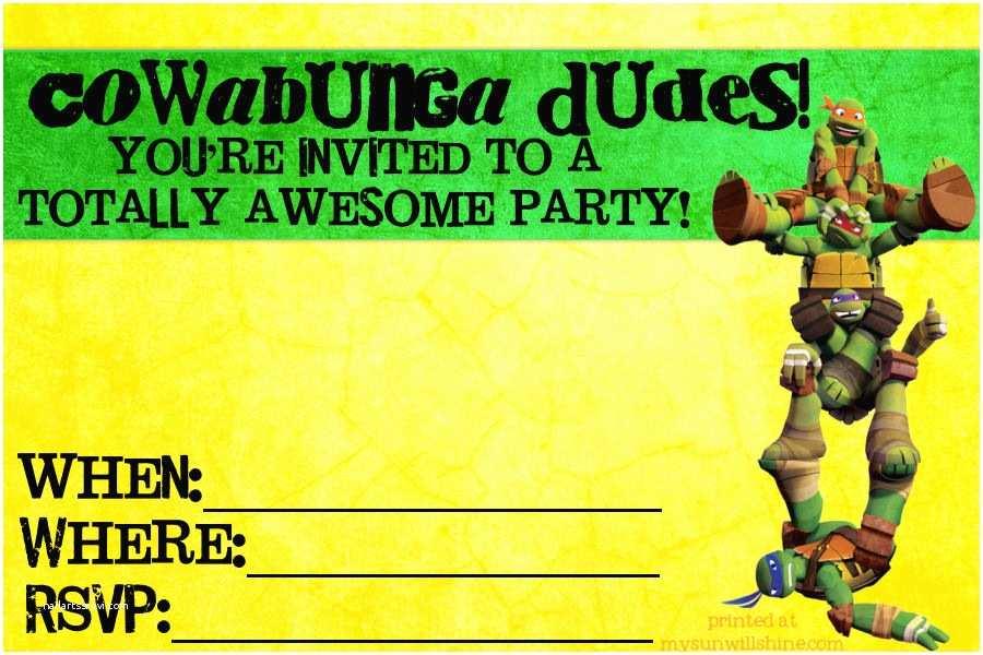 Teenage Mutant Ninja Turtles Birthday Invitations Birthday Invites Teenage Mutant Ninja Turtle