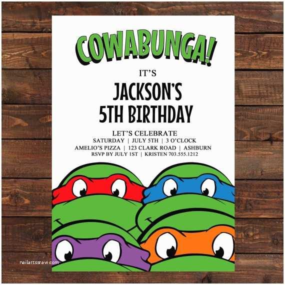 Teenage Mutant Ninja Turtles Birthday Invitations Teenage Mutant Ninja Turtle Invitation Printable