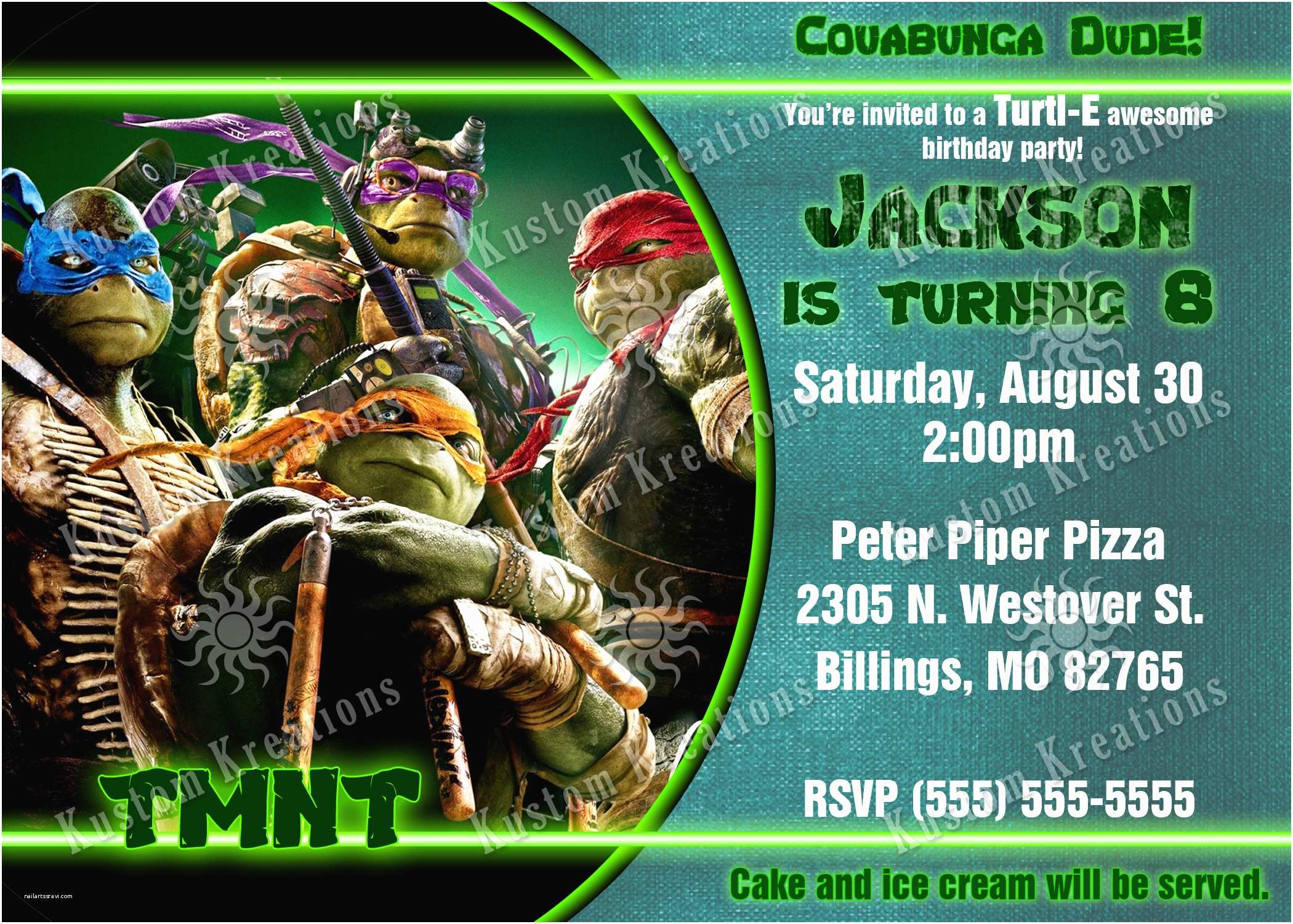 Teenage Mutant Ninja Turtles Birthday Invitations Teenage Mutant Ninja Turtles Birthday Invitations 2014