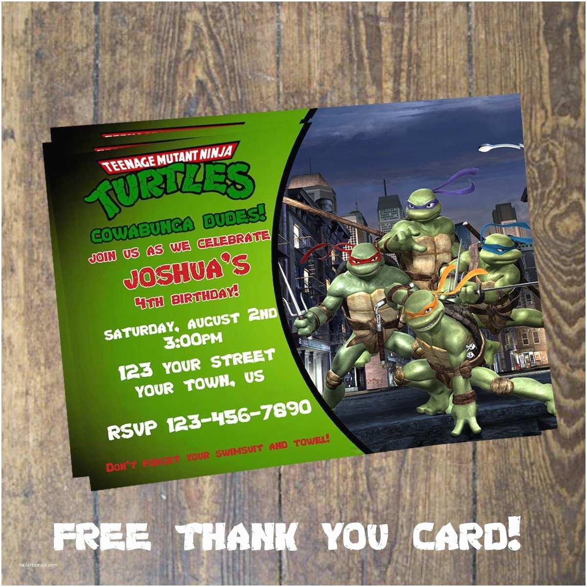 Teenage Mutant Ninja Turtles Birthday Invitations Teenage Mutant Ninja Turtles Invitation Tmnt