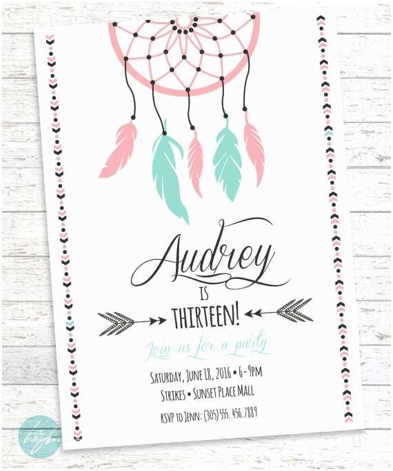 Teenage Party Invitations Boho Birthday Invitation Aztec Tribal Invitation by