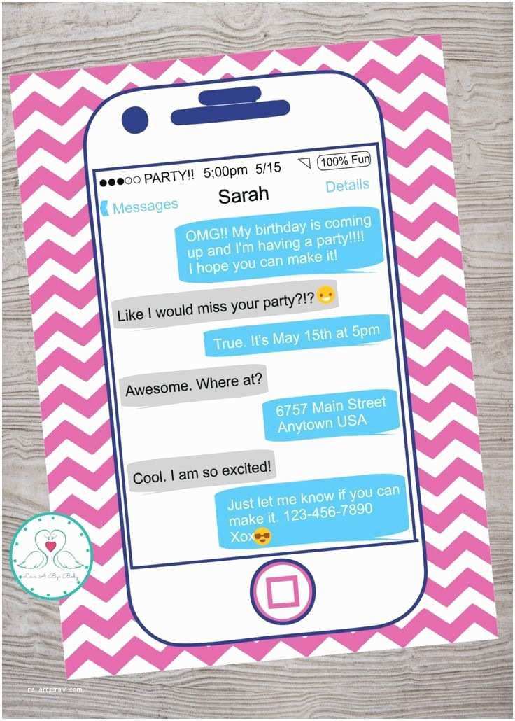 Teenage Party Invitations iPhone Cell Phone Teen Tween Birthday Party Invitation