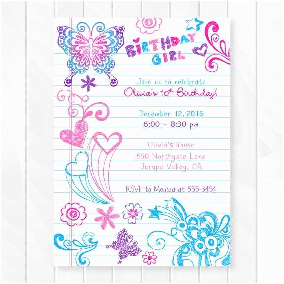 Teenage Party Invitations Notebook Doodles Tween Birthday Invitation Girl Birthday