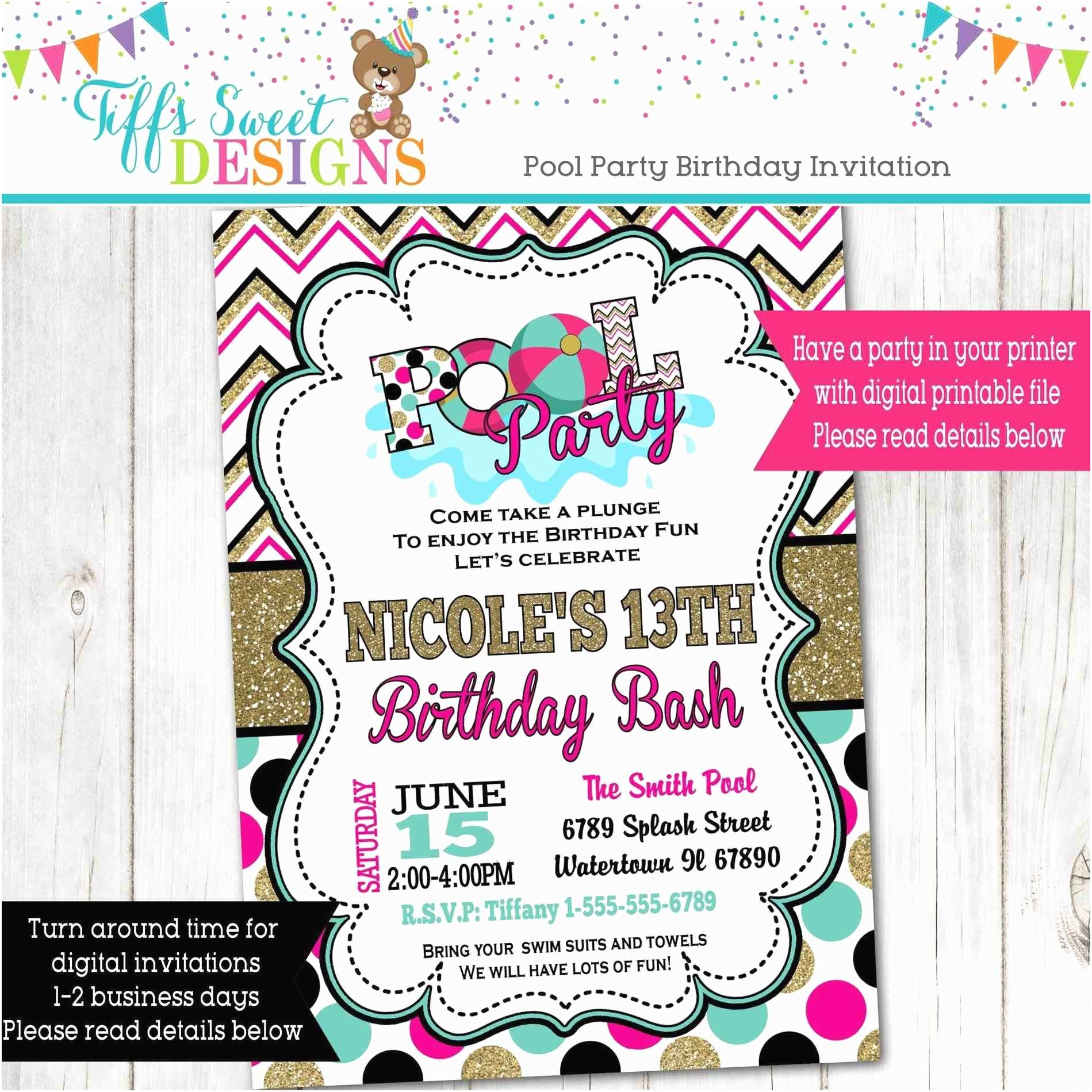 Teenage Party Invitations Pool Birthday Party Invitations for Teenage Girls