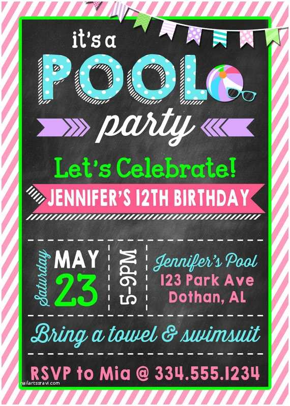 Teenage Party Invitations Pool Party Birthday Invitation